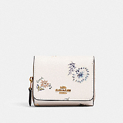 SMALL TRIFOLD WALLET WITH DANDELION FLORAL PRINT - IM/CHALK/ BLUE MULTI - COACH 2924