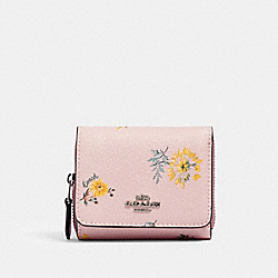 SMALL TRIFOLD WALLET WITH DANDELION FLORAL PRINT - SV/BLOSSOM MULTI - COACH 2924