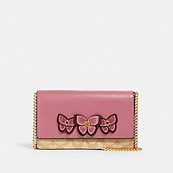 FLAP BELT BAG IN SIGNATURE CANVAS WITH BUTTERFLY APPLIQUE - IM/LT KHAKI/ ROSE - COACH 2935