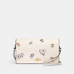 ANNA FOLDOVER CROSSBODY CLUTCH WITH DANDELION FLORAL PRINT - IM/CHALK/ BLUE MULTI - COACH 2937
