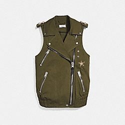 CRYSTAL EMBELLISHED OVERSIZED VEST - KHAKI GREEN - COACH 29465