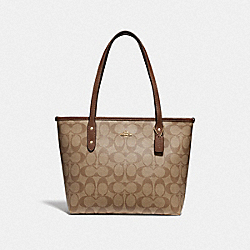 MINI CITY ZIP TOTE IN SIGNATURE CANVAS - IM/KHAKI SADDLE 2 - COACH 29500