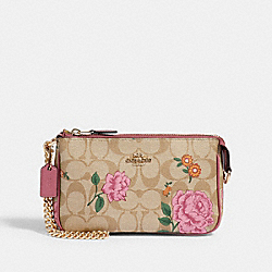 LARGE WRISTLET 19 IN SIGNATURE CANVAS WITH PRAIRIE ROSE PRINT - IM/KHAKI MULTI - COACH 2953