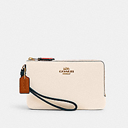 DOUBLE CORNER ZIP WRISTLET IN COLORBLOCK - IM/CHALK PEACOCK MULTI - COACH 2959