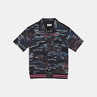 하와이언 프린트 바시티 볼링 셔츠