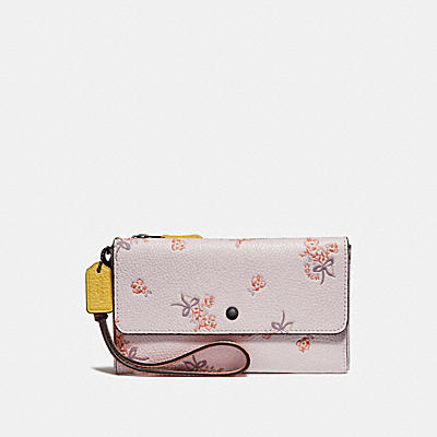 TRIPLE SMALL WALLET IN COLORBLOCK WITH FLORAL BOW PRINT
