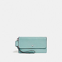 TRIPLE SMALL WALLET - LIGHT TURQUOISE/SILVER - COACH 29609
