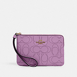 CORNER ZIP WRISTLET IN SIGNATURE LEATHER - IM/VIOLET ORCHID - COACH 2961