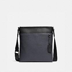 METROPOLITAN SLIM MESSENGER IN COLORBLOCK - BLACK ANTIQUE NICKEL/MIDNIGHT NAVY - COACH 29626