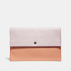 LARGE ENVELOPE POUCH IN COLORBLOCK - SILVER/ICE PINK MULTI - COACH 29664