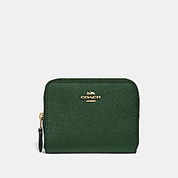 SMALL ZIP AROUND WALLET - HUNTER GREEN/GOLD - COACH 29677