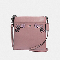 KITT MESSENGER CROSSBODY WITH HEART APPLIQUE - DUSTY ROSE/BLACK COPPER - COACH 29679