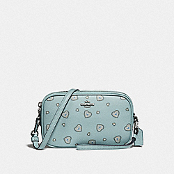 CROSSBODY CLUTCH WITH WESTERN HEART PRINT - LIGHT TURQUOISE WESTERN HEART/SILVER - COACH 29682