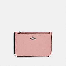 ZIP CARD CASE IN COLORBLOCK - SV/LIGHT BLUSH MULTI - COACH 29687