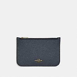 ZIP CARD CASE - LIGHT GOLD/NAVY - COACH 29688