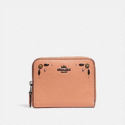 SMALL ZIP AROUND WALLET WITH PRAIRIE RIVETS DETAIL - DK/DARK BLUSH - COACH 29689