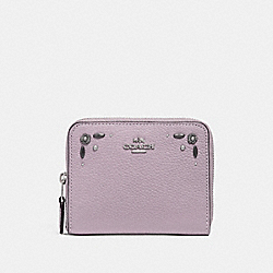 SMALL ZIP AROUND WALLET WITH PRAIRIE RIVETS DETAIL - SV/ICE PURPLE - COACH 29689