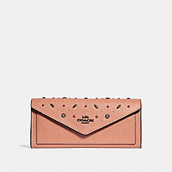 SOFT WALLET WITH PRAIRIE RIVETS - DARK BLUSH/DARK GUNMETAL - COACH 29716