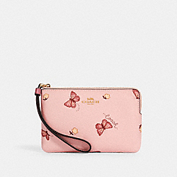 CORNER ZIP WRISTLET WITH BUTTERFLY PRINT - IM/BLOSSOM/ PINK MULTI - COACH 2971