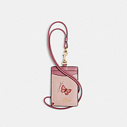 ID LANYARD WITH BUTTERFLY PRINT - IM/BLOSSOM/ PINK MULTI - COACH 2984