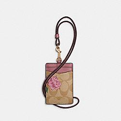 ID LANYARD IN SIGNATURE CANVAS WITH PRAIRIE ROSE PRINT - IM/KHAKI MULTI - COACH 2986