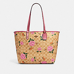 REVERSIBLE CITY TOTE IN SIGNATURE CANVAS WITH PRAIRIE ROSE PRINT - IM/LIGHT KHAKI PINK MULTI/ROSE - COACH 2990
