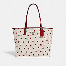 REVERSIBLE CITY TOTE WITH LADYBUG PRINT - SV/CHALK/ RED MULTI/ TRUE RED - COACH 2991