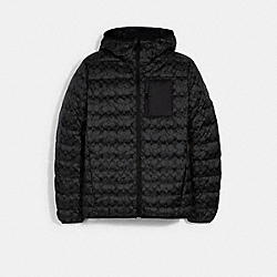 PACKABLE HOODED DOWN JACKET - BLACK SIGNATURE - COACH 2993
