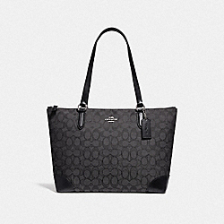 ZIP TOP TOTE IN SIGNATURE JACQUARD - SV/BLACK SMOKE/BLACK - COACH 29958