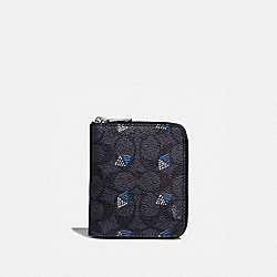SMALL ZIP AROUND WALLET IN SIGNATURE CANVAS WITH DOT DIAMOND PRINT - CHARCOAL - COACH 29970