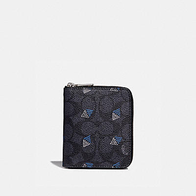 SMALL ZIP AROUND WALLET IN SIGNATURE CANVAS WITH DOT DIAMOND PRINT