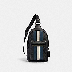 WEST PACK IN SIGNATURE CANVAS WITH VARSITY STRIPE - QB/CHARCOAL/DENIM/CHALK - COACH 2999