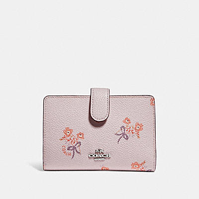 MEDIUM CORNER ZIP WALLET WITH FLORAL BOW PRINT