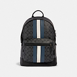 WEST BACKPACK IN SIGNATURE CANVAS WITH VARSITY STRIPE - QB/CHARCOAL/DENIM/CHALK - COACH 3001