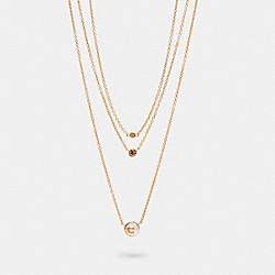 PEARL SIGNATURE LAYER NECKLACE - GD/PINK - COACH 3016