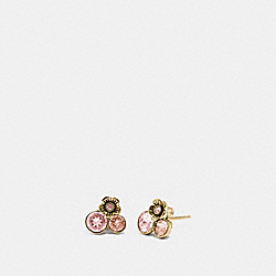 TEA ROSE CLUSTER STUD EARRINGS - ROSE/GOLD - COACH 30196