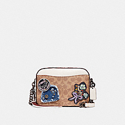 CAMERA BAG IN SIGNATURE CANVAS WITH PATCHES AND RIVETS - BP/CHALK - COACH 30245