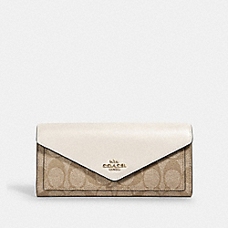 SLIM ENVELOPE WALLET IN SIGNATURE CANVAS - IM/LIGHT KHAKI CHALK - COACH 3034