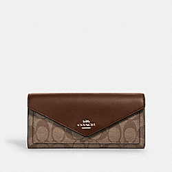 SLIM ENVELOPE WALLET IN SIGNATURE CANVAS - IM/KHAKI SADDLE 2 - COACH 3034