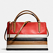 THE LARGE BOROUGH BAG IN BAR STRIPE LEATHER