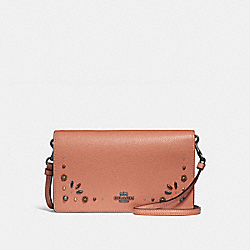 HAYDEN FOLDOVER CROSSBODY CLUTCH WITH PRAIRIE RIVETS DETAIL - DARK GUNMETAL/DARK BLUSH - COACH 30428