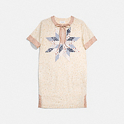 COACH X KEITH HARING QUILTED PATCHWORK T-SHIRT DRESS - IVORY - COACH 30496