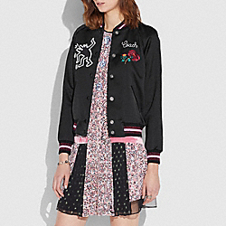 COACH X KEITH HARING VARSITY JACKET - BLACK - COACH 30497