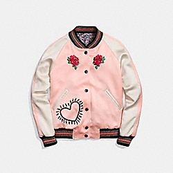 COACH X KEITH HARING REVERSIBLE SATIN JACKET - PJ PINK/LIGHT BLUE - COACH 30499