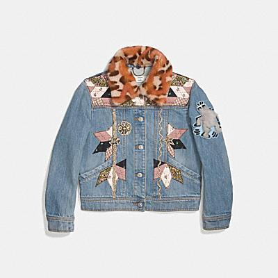 裝飾絎縫拼接丹寧夾克