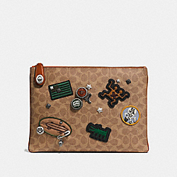 COACH X KEITH HARING TURNLOCK POUCH IN SIGNATURE PATCHWORK - KHAKI - COACH 30624