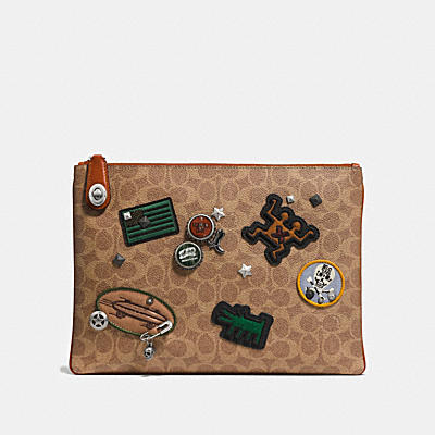 COACH X KEITH HARING TURNLOCK POUCH IN SIGNATURE PATCHWORK