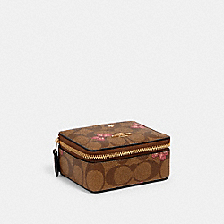 JEWELRY BOX IN SIGNATURE CANVAS WITH BUTTERFLY PRINT - IM/KHAKI PINK MULTI - COACH 3066