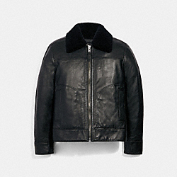 LEATHER AVIATOR JACKET WITH SHEARLING COLLAR - BLACK - COACH 3072