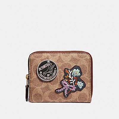 SMALL ZIP AROUND WALLET IN SIGNATURE CANVAS WITH PATCHES